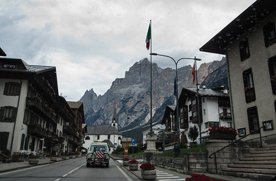One eventually leaves the autostrade, and drives on two-lane, 1.5-lane, and single-lane roads and streets to get to Cortina d'Ampezzo.  This is the msall village of San Vito.
