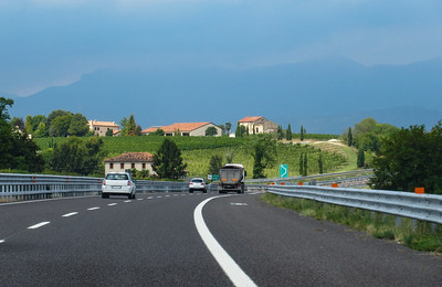 On the road at last, headed north from Venice on the Autostrade.  We started seeing vineyards almost immediately.
