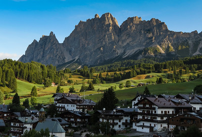 Climbing out of Cortina, we captured the peaks above town with some nice morning light.