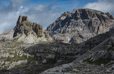 A telephoto shot of the Refugio Tre Cime.