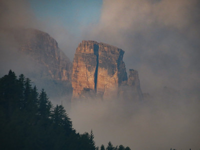 The next morning, from our hotel balcony, I spotted some interesting light on the Cinque Torri's south face.