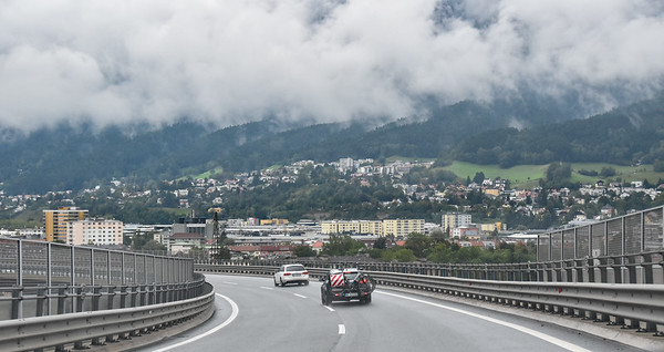 Approaching the outskirts of Innsbruck, Austria.  We will be heading west into the western Tyrol.