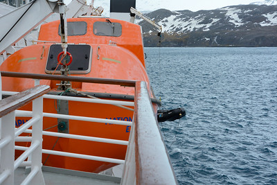 This was a pretty typical sequence of events for determining what we might be able to do.  The crew pulled a zodiac off the stack that is in the rear of the top deck.
