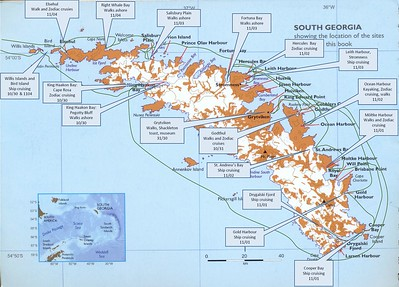 This is a map of South Georgia, supplied by Linblad/Nat Geo, of the places that we would ultimately go, or TRY to go.  Essentially, we went counter-clockwise around the Island.