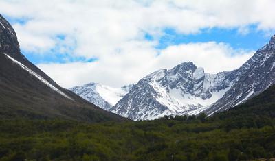 We were driven on a short bus trip through Tierra del Fuego Nat'l Park.  Nice snow capped peaks.