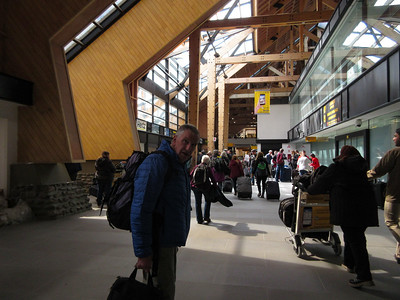 We have landed in Ushuaia.  The airport reminds us of Bozeman's airport.  Lots of wooden beams.