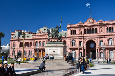 """One of the government buildings, which I suspect locally as """"The Pink Palace,"""" where Eva Perone made her famous speech."""