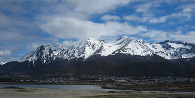 A view unobstructed by vehicles, of the western end of the city.  Ushuaia is not only the southernmost city in the world, it has experienced unprecedented growth.  In a mere 40 years, it has grown from 5000 residents to 74,000.