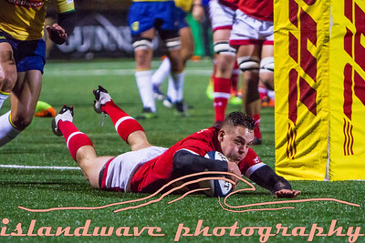 Canadian #14 Cole Davis scoring first try of the game