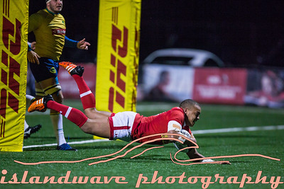 Canadian #13 Doug Fraser scores first try on National team.