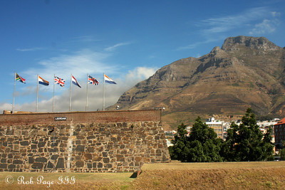 Devil's Peak rises above the Castle of Good Hope with the six flags of its previous and current owners flying above - Cape Town, South Africa ... March 11, 2010 ... Photo by Rob Page III