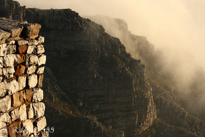 Clouds roll off the edge of mountain - Cape Town, South Africa ... March 11, 2010 ... Photo by Rob Page III