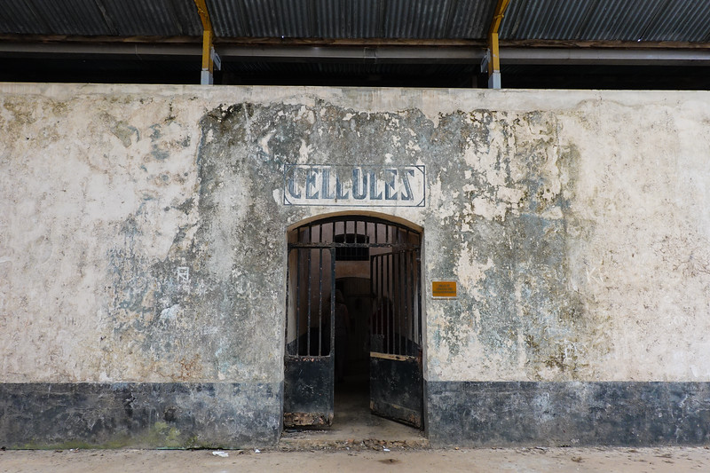 Entrance to some of the storied prisoner cells in Ile Royale's prison colony.