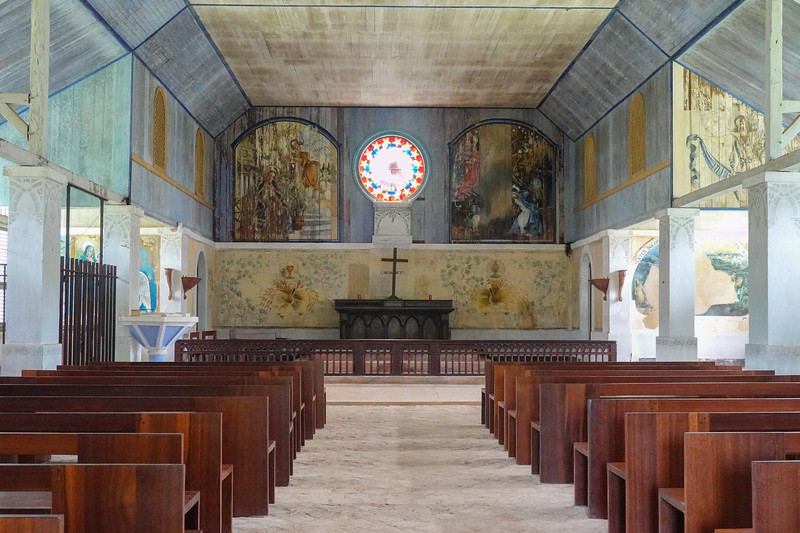 A look inside the Church that was part of the Ile Royale prison colony.