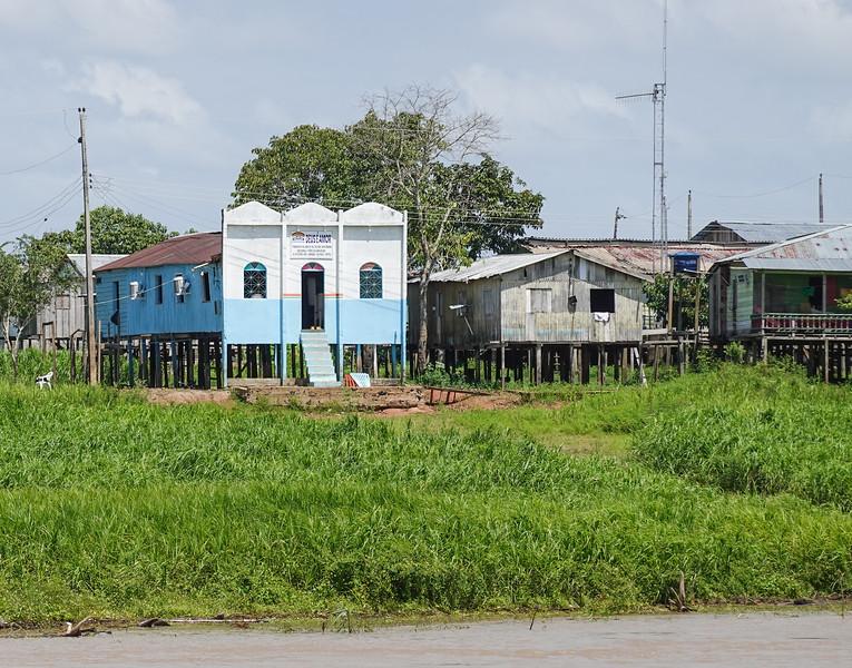 Church and stilt village outside Manaus.