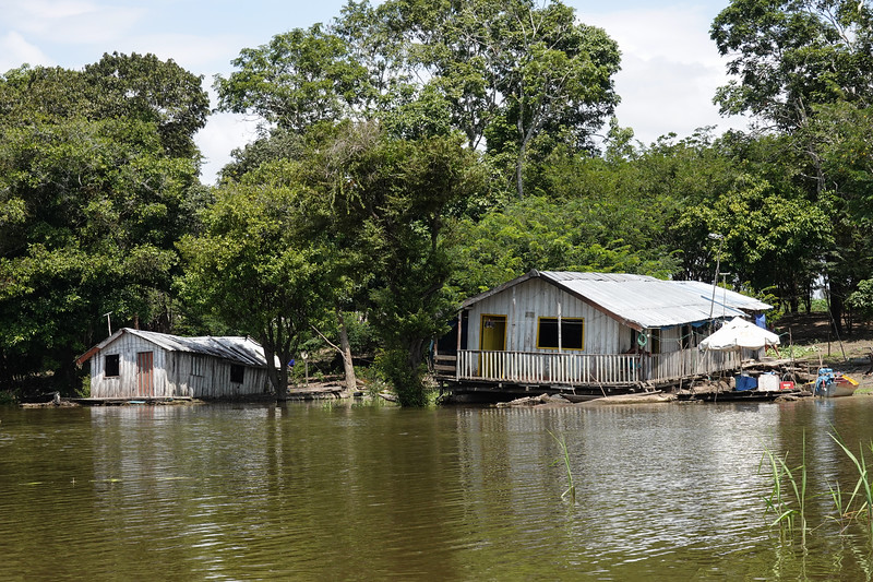 Grounded floating homes that will rise with the river outside Manaus, Brazil.