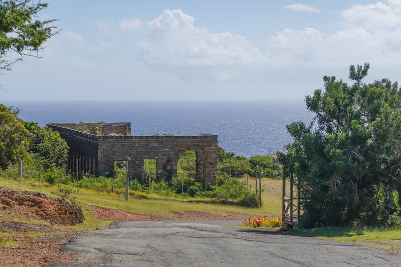 More ruins of troop barracks at Fort Charlotte on St. John's, Antigua.
