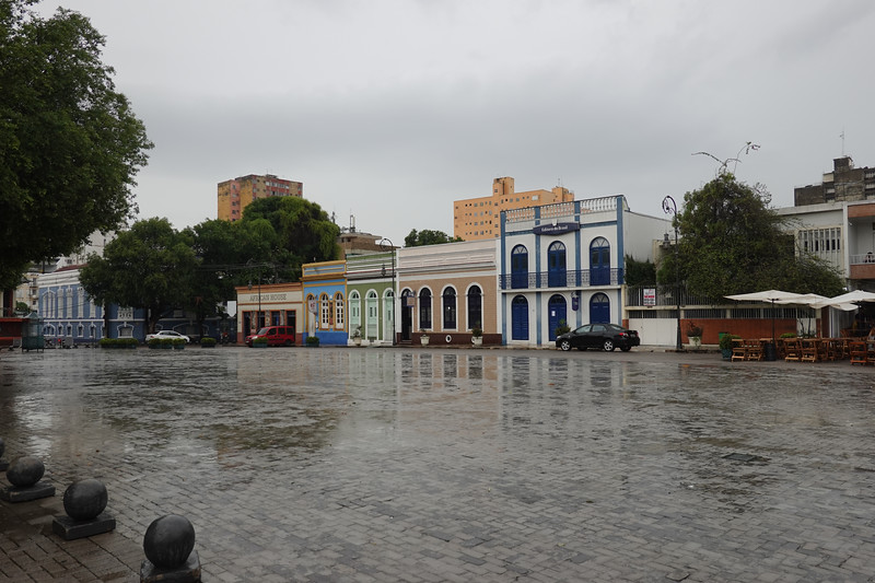 Streets of Manaus in the rain near the Opera House.
