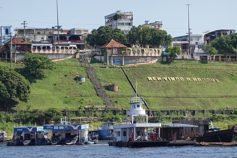 Welcome to Manaus, Brazil.  Floating fuel stations abound for marine use.
