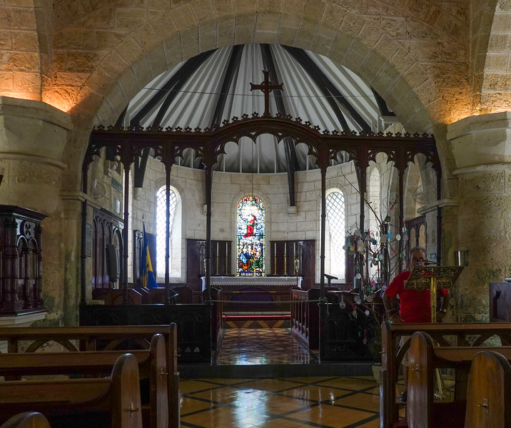 Inside Saint James Parish Church, the oldest on Barbados, first in wooden form, from 1680's.