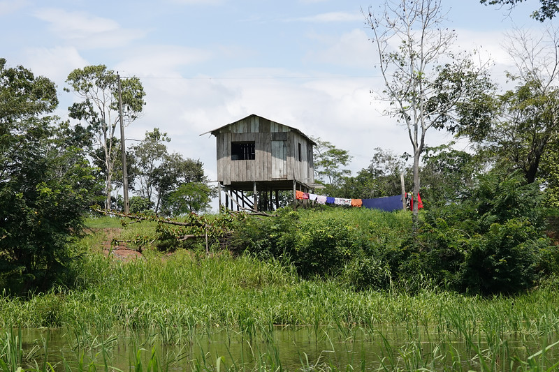 Stilt house on the river outside Manaus, Brazil.