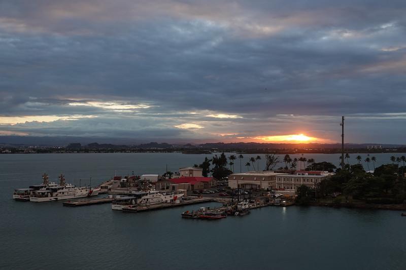 Sunset from the Viking Sea docked in San Juan, PR.