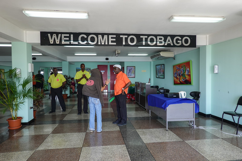 Pla being welcomed to Tobago.