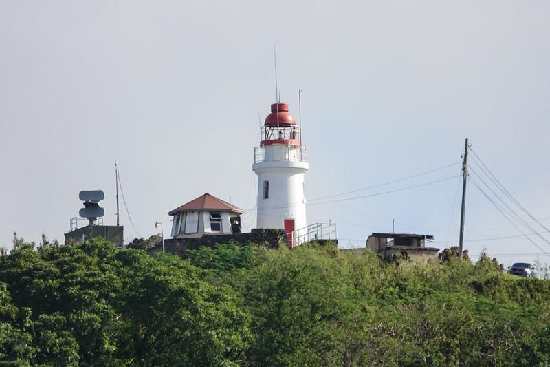 Lighthouse near the harbor entrance. Castries, Saint Lucia.