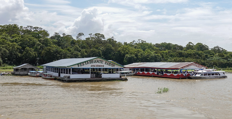 Floating Resturants and Tourist Souvenier Centers along the Amazon tributaries outside Manaus.