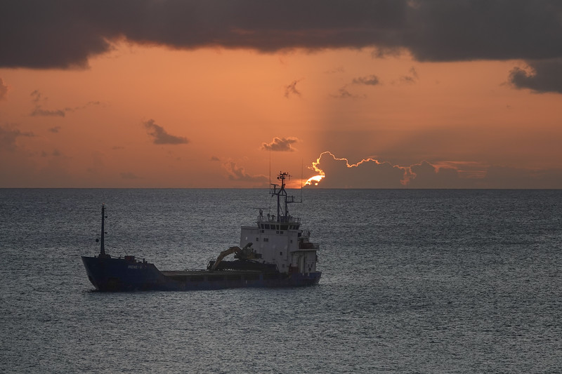Sunset heading out to sea from Bridgetown,Barbados.