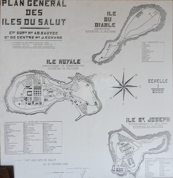 Map of the three Iles du Salut prison colony off the coast of French Giana, opened in 1852.