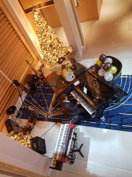 The Viking Sea Atrium set up for New Year's entertainment.