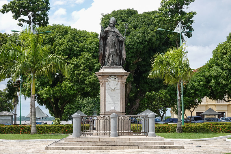 Memorial statue to the Pope in the square outside the Cathedral of Se, Belen, Brazil.