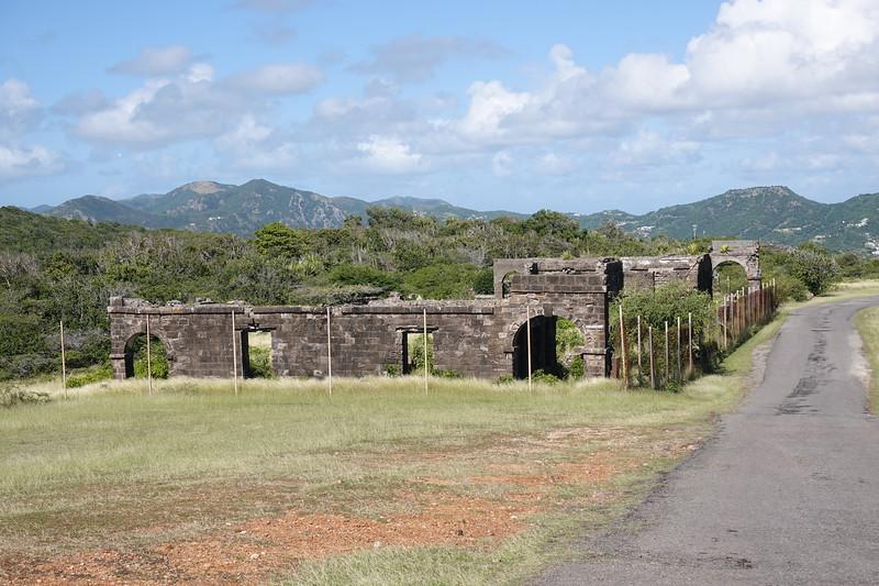 Ruins of Fort Charlotte troop quarters on St. Johns, Antigua.