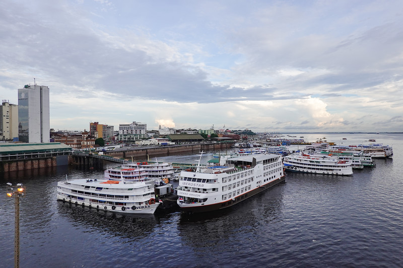 Many smaller ships which transport passengers up and down the Amazon as well as on local tours are here in dock at Manaus.