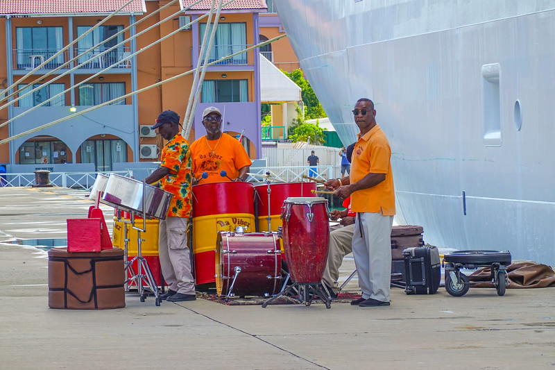 Going ashore to the tunes of a Steel Drum Band on St. John's.