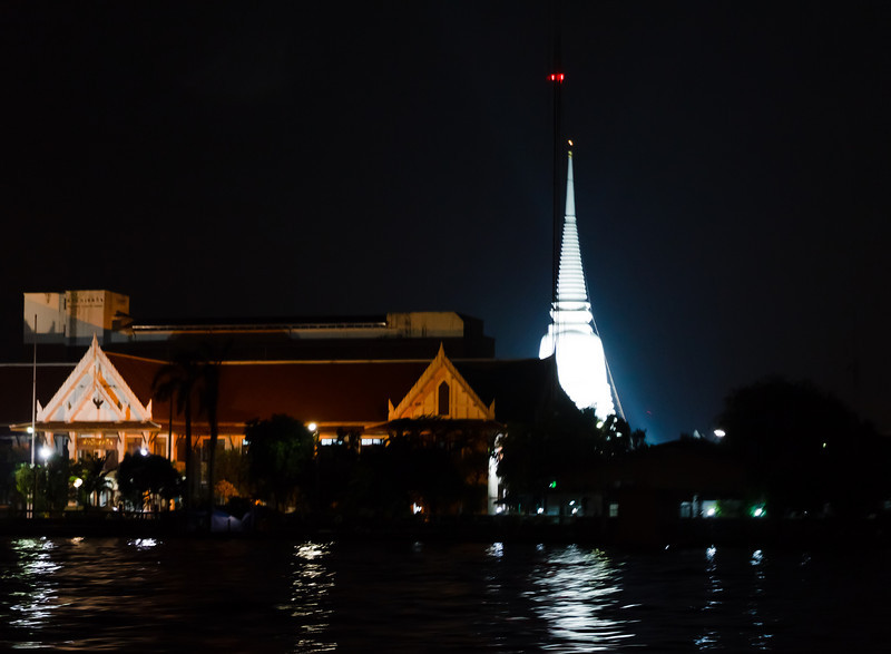 Wat Chalermprakiat at night from the Chao Phyara River.