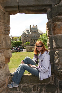 Me enjoying a short rest at the castle ruins in St Andrews