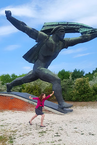 Emily with a statue at Momento Park - Budapest, Hungary ... June 1, 2017 ... Photo by Rob Page III