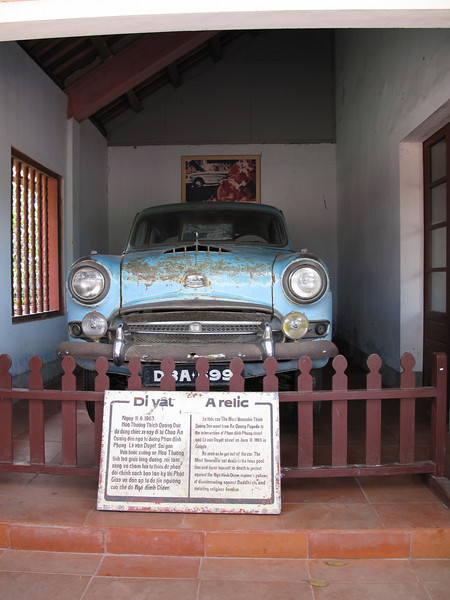 The vehicle used by Thich Quang Duc to buen himself in protest on June 11, 1963