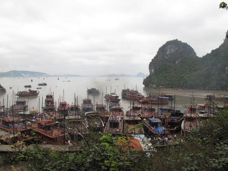 The jam of Tour Boats at the Caves of Ha Long Bay