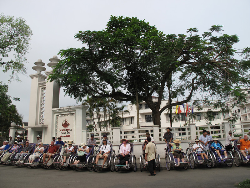 The Group preparing for a Cyclo Ride in Hue