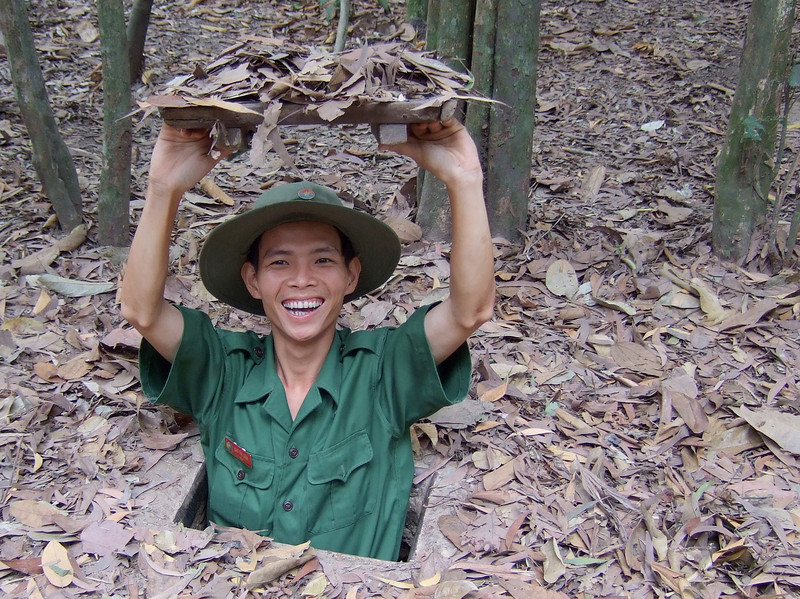 Viet Cong Entering Tunnel
