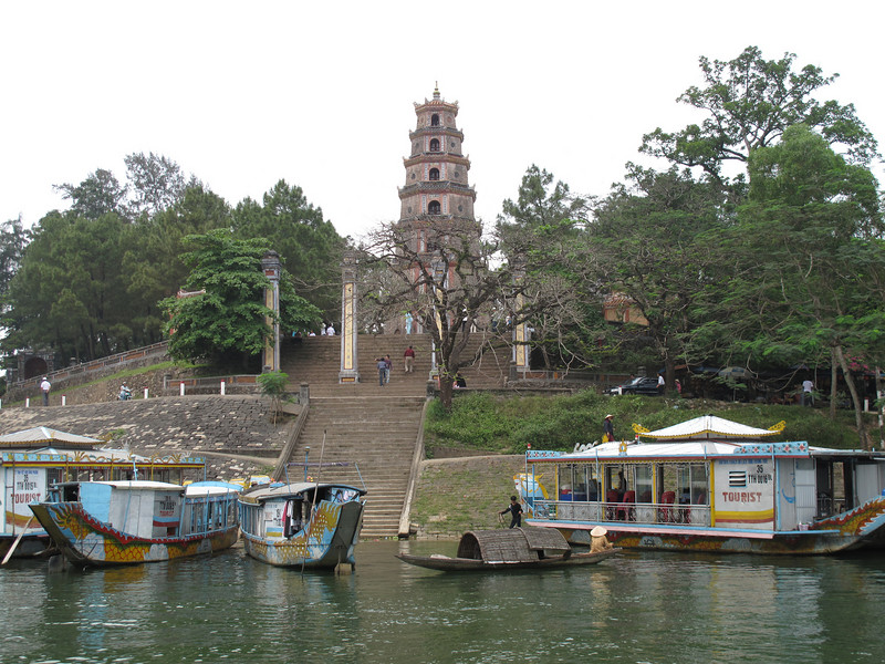 Leaving the Thien Mu Pagoda for a ride on the Perfurme River