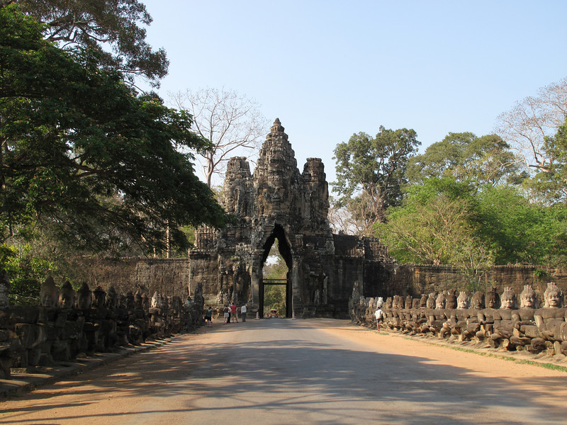 South Gate to Angkor Thom in Siam Reap Cambodia
