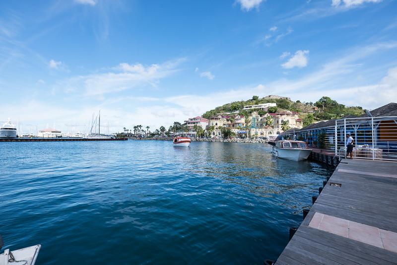 Water view of Marina Fort Lewis including the Fort in Marigot, St. Maarten.