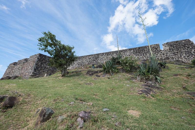 Looking up at Fort Louis in Marigot, St. Maarten.
