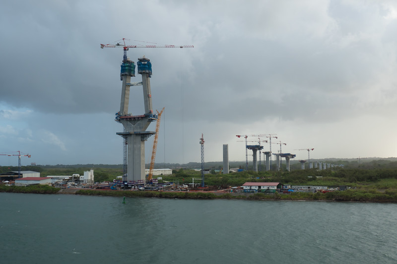 Construction of a bridge over the entry to the Panama Canal.