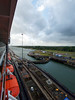 Early morning in the first Gatun Lock of the Panama Canal.