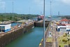 The Caribbean Sea and the first two Gatun Locks viewed from the Observation Center.